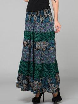 Dark Green Paneled Resort Maxi Skirt