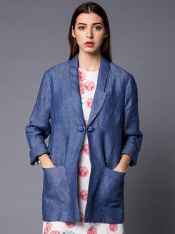 Blue Simple Lapel H-line Plain Blazer
