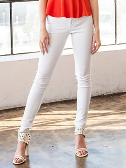 White Simple Rayon H-line Plain Skinny Leg Pant