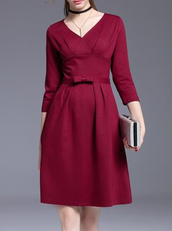 Burgundy Long Sleeve Folds A-line Midi Dress
