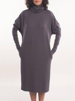 Long Sleeve Plain H-line Casual Midi Dress