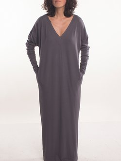 Deep Gray V Neck Casual Maxi Dress