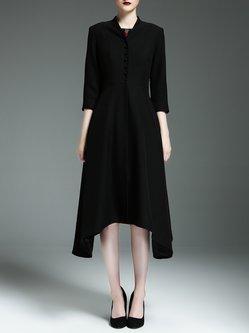 Black Plain Asymmetrical Elegant Coat