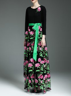 Black Long Sleeve Crew Neck A-line Floral-embroidered Maxi Dress