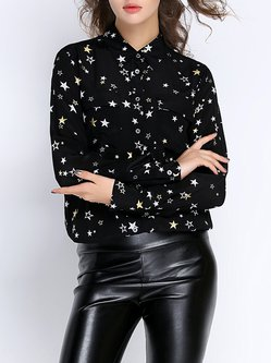 Black Long Sleeve H-line Shirt Collar Geometric Blouse