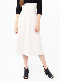 White Wool Blend Elegant A-line Plain Midi Skirt