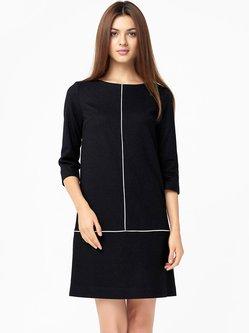 Black Shift Cashmere 3/4 Sleeve Midi Dress