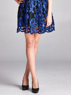 Blue Abstract Elegant Embroidered Polyester Mini Skirt