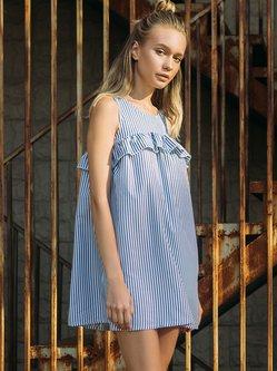 Blue Shift Sleeveless Cotton-blend Stripes Mini Dress