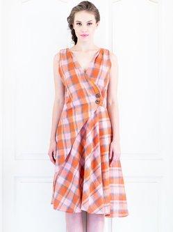 Orange V Neck Sleeveless Wrap Dress