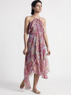 Pink Printed Spaghetti Asymmetrical Midi Dress