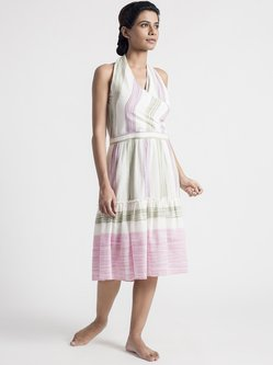 A-line Stripes Halter Sleeveless Elegant Wrap Dress