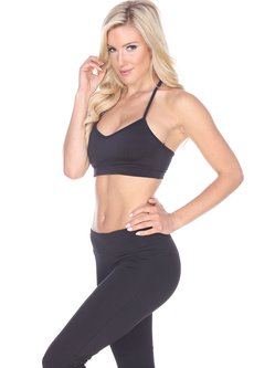 Black Stretchy Cotton Breathable Sports Bra