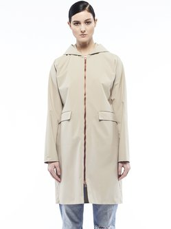 Beige H-line Zipper Polyester Long Sleeve Coat