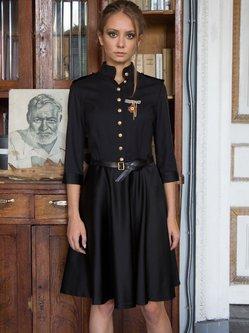 Black Plain 3/4 Sleeve Buttoned A-line Midi Dress