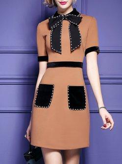 Short Sleeve Paneled Pockets Beaded Bow Collar Elegant A-line Dress