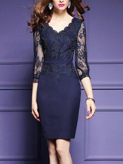 Paneled 3/4 Sleeve V Neck Elegant Embroidered Midi Dress