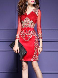 Plus Size 3/4 Sleeve Surplice Neck Embroidered Sheath Dress