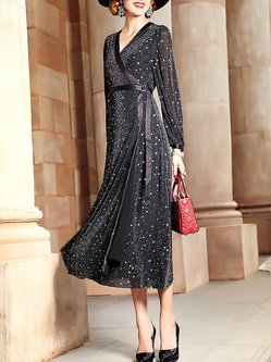 Plus Size Black Elegant Geometric Shimmer Wrap Dress