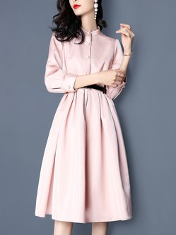 Long Sleeve Elegant Stand Collar Midi Dress