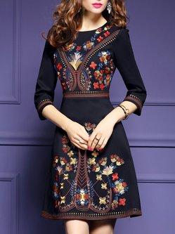 Floral A-line Casual 3/4 Sleeve Midi Dress