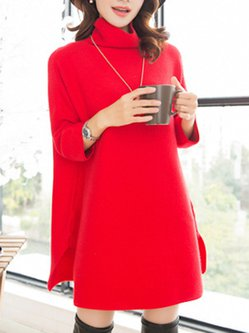 Turtleneck Casual Shift Knitted Midi Dress