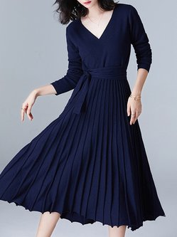 Knitted Long Sleeve Elegant Ribbed Sweater Dress