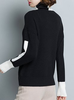Black Casual Knitted Turtleneck Sweater