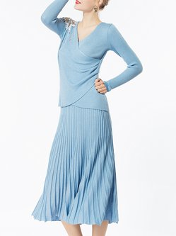 Blue Surplice Neck Pleated Long Sleeve Top With Skirt