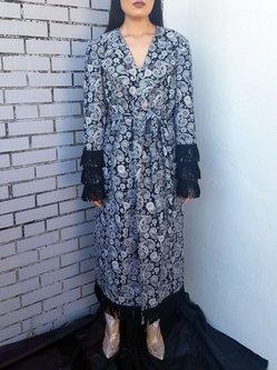 Black Printed Lapel Corduroy Long Sleeve Coat