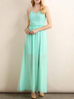 Mint Elegant Swing Guipure Lace Solid Evening Dress