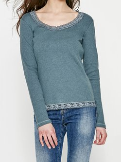 Green Basic Solid Cotton-blend Long Sleeved Top