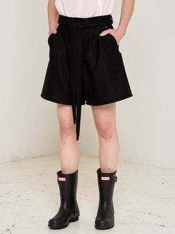 Black A-line Solid Casual Wool Shorts