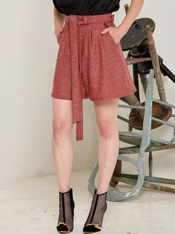 Rust Casual Wool A-line Plain Shorts