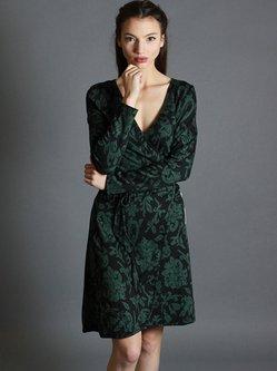 Green Printed Floral Elegant Wrap Dress
