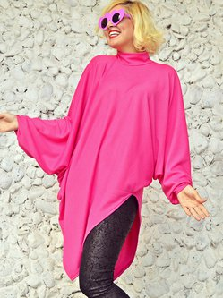 Pink Cowl Neck H-line Batwing Knitted Sweater