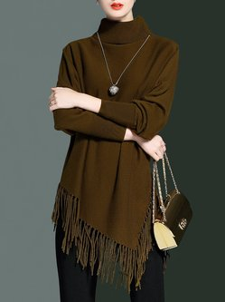 Olive Green Batwing Asymmetrical Sweater