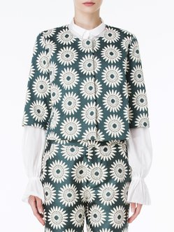 Green Casual Floral-print Cropped Jacket