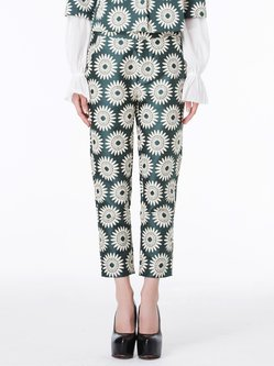 Green Floral Statement Straight Leg Pants