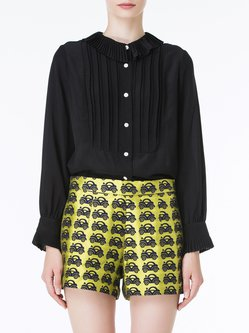 Black Long Sleeve Ruched Crew Neck Blouse
