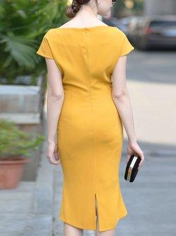 Elegant Short Sleeve Slash Neck Midi Dress