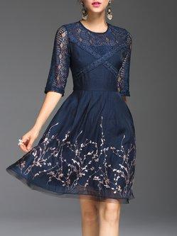 Floral-embroidered Half Sleeve Crew Neck A-line Elegant  Midi Dress