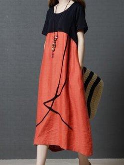 Red Crew Neck Color-block Shift Casual Linen Dress