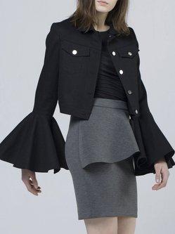 Black Plain H-line Statement Cropped Jacket