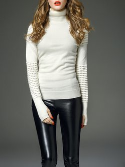 Beige Cotton Long Sleeve  Turtleneck Sweater