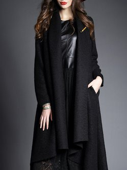 Black Long Sleeve Wool Blend Plain Coat