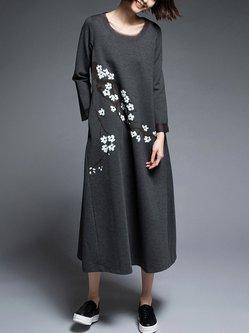 Black-grey Shift Long Sleeve Crew Neck Midi Dress