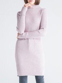 Pink Turtleneck Long Sleeve Wool Blend Sweater