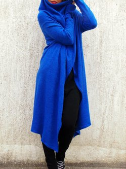 Blue Asymmetrical Long Sleeve Cardigan