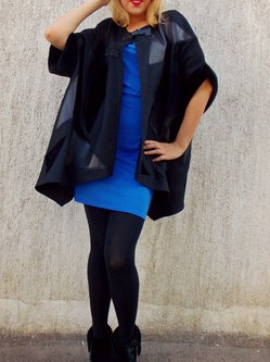 Black Long Sleeve Shift Plain Coat